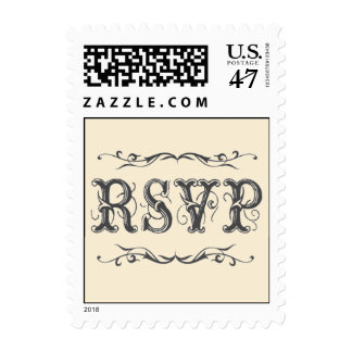 Old fashioned Victorian RSVP Postage