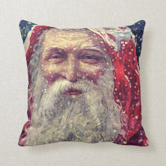 Old-fashioned Victorian Saint Nicholas Throw Pillow