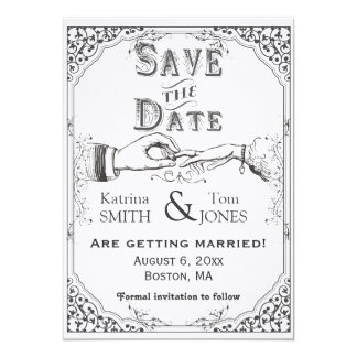 Old fashioned Victorian Save the Date Card