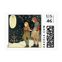 Old fashioned vintage Christmas Postage Stamps