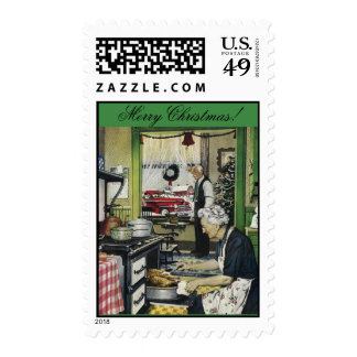 Old Fashioned Vintage Home Christmas Stamp