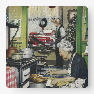 Old Fashioned Vintage Home Kitchen Christmas Square Wallclock