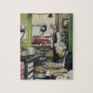 Old Fashioned Vintage Home Kitchen Christmas Jigsaw Puzzle