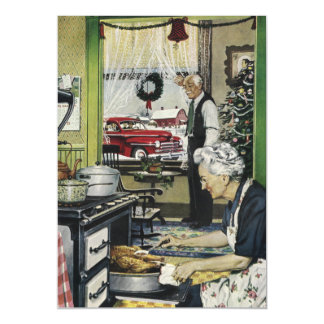 Old Fashioned Vintage Home Kitchen Christmas Magnetic Card