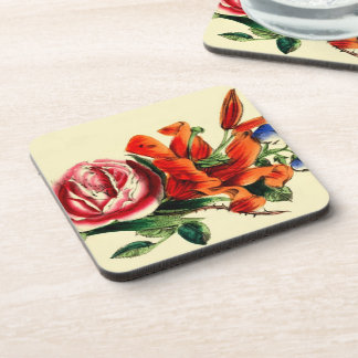 Old Fashioned Vintage Red Lily Floral Bouquet Trio Coaster