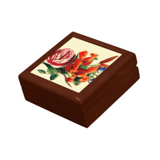 Old Fashioned Vintage Red Lily Floral Bouquet Trio Keepsake Boxes