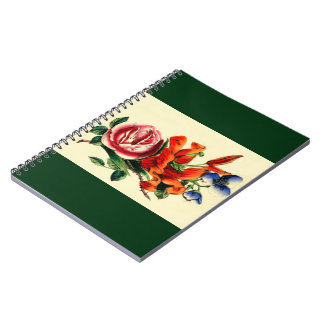 Old Fashioned Vintage Red Lily Floral Bouquet Trio Notebook