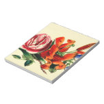 Old Fashioned Vintage Red Lily Floral Bouquet Trio Scratch Pads