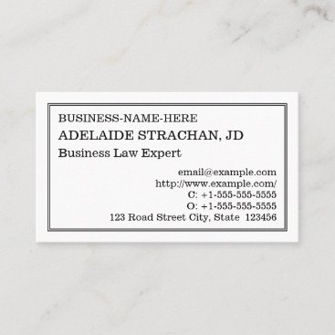 Old Fashioned, Vintage Style Business Card