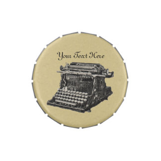 Old Fashioned Vintage Typewriter Illustration Candy Tins