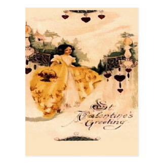 Old Fashioned Vintage Valentine Greetings Postcard