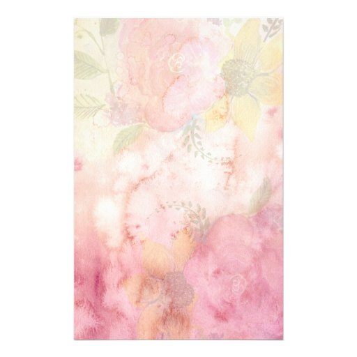 Old-Fashioned Vintage Watercolor Pastel Floral Stationery
