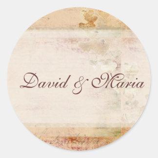 Old fashioned vintage wedding design classic round sticker