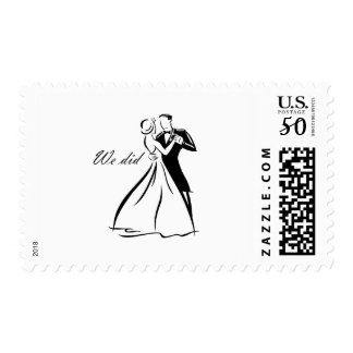 Old Fashioned Wedding Couple dancing Postage