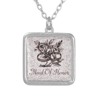 Old Fashioned Wedding Rings Around Roses Silver Plated Necklace