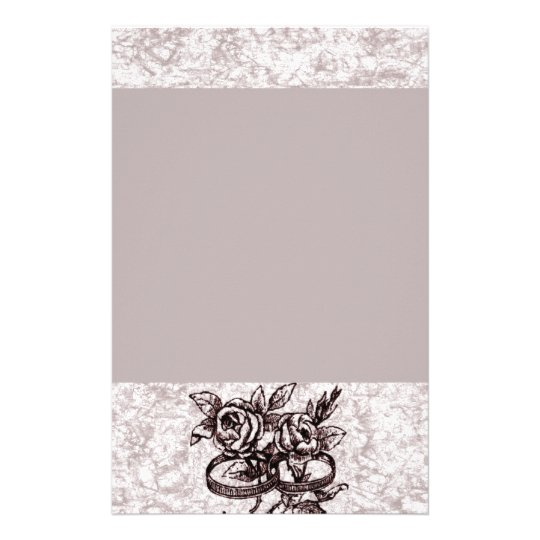 Old Fashioned Wedding Rings Around Roses Stationery
