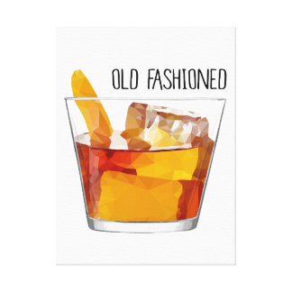 Old Fashioned Whiskey Mixed Drink Cocktail Art Canvas Print