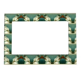 Old Fashioned Winter Snowman Pattern Magnet Frame