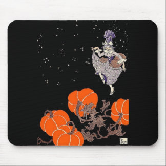 Old fashioned witch in pumpkin patch mousepads