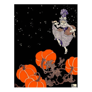 Old fashioned witch in pumpkin patch postcard