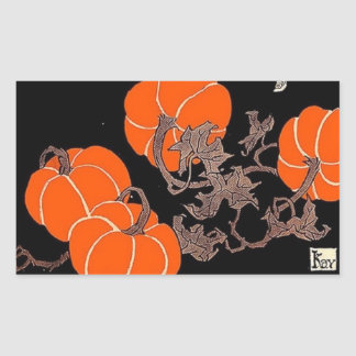 Old fashioned witch in pumpkin patch rectangular sticker