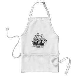Old-Fashioned Wooden Ship Sailing on the Water Adult Apron
