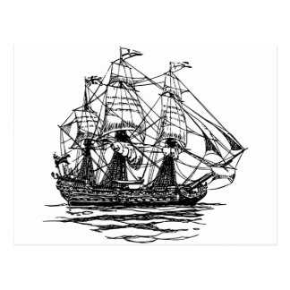 Old-Fashioned Wooden Ship Sailing on the Water Postcard
