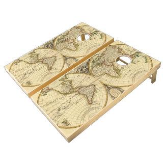 Old Fashioned World Map (1782) Cornhole Set