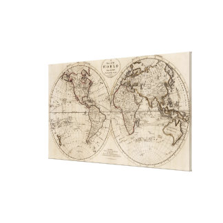 Old Fashioned World Map (1795) Canvas Print