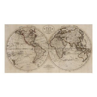 Old Fashioned World Map (1795) Poster