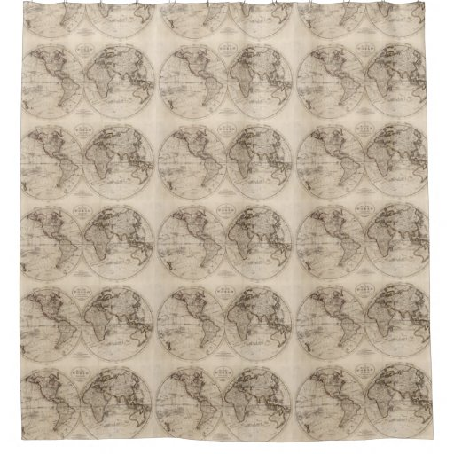 Old fashioned world map 1795 shower curtain zazzle - Old world map shower curtain ...