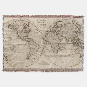 Make your own world map blanket bundle up in yours today zazzle old fashioned world map 1795 throw blanket gumiabroncs Choice Image