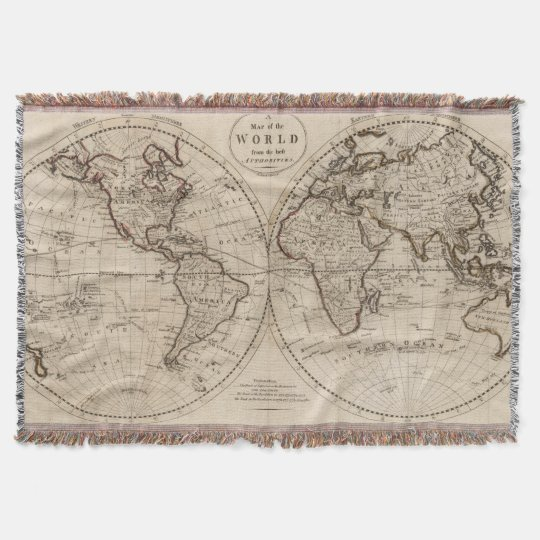 Old Fashioned World Map Throw Blanket Zazzlecom - Old time world map
