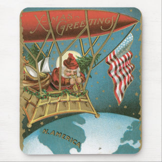Old Fashioned X-Mas Greetings American Santa Mouse Pad