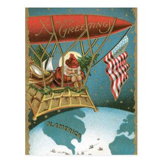 Old Fashioned X-Mas Greetings American Santa Postcard