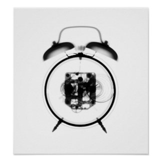 Old Fashioned X-Ray Clock Black White Poster