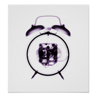 Old Fashioned X-Ray Clock Purple Poster
