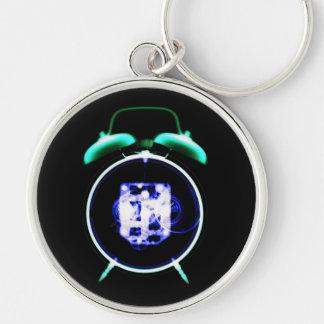 Old Fashioned X-Ray Vision Alarm Clock - Original Silver-Colored Round Keychain