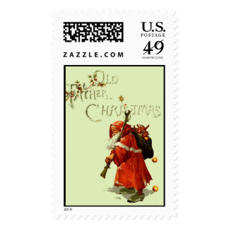 Old Father Christmas with light green background Stamp