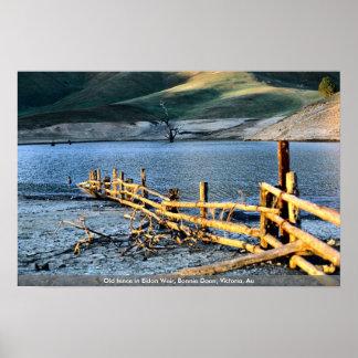 Old fence in Eidon Weir, Bonnie Doon, Victoria, Au Poster