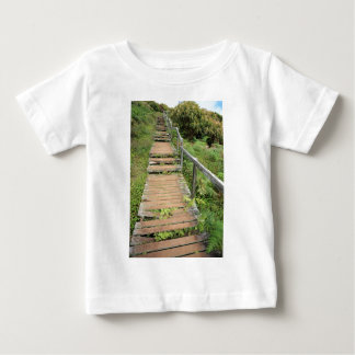 Old fern covered wooden path t-shirt