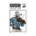 Old Fiddle Player Stamp