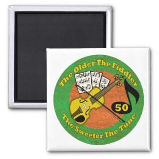 Old Fiddler 50th Birthday Gifts 2 Inch Square Magnet