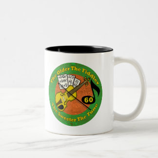 Old Fiddler 60th Birthday Gifts Two-Tone Coffee Mug