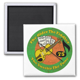 Old Fiddler 75th Birthday Gifts 2 Inch Square Magnet