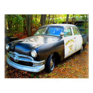 Old Fifties Highway Patrol Police Car Postcard