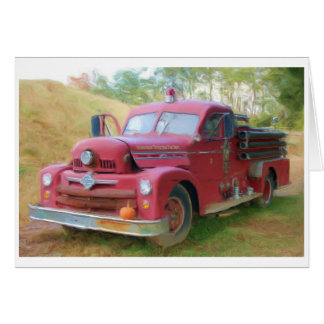 Old Fire Truck Card