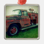 Old Fire Truck Square Metal Christmas Ornament