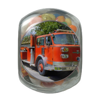 Old Firetruck Glass Jar
