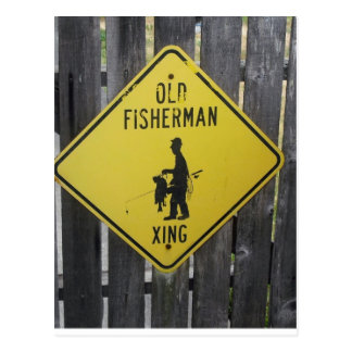 Old Fisherman Crossing Postcard